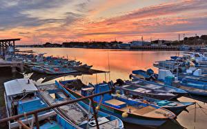 Обои Тайвань Рассветы и закаты Пристань Лодки Заливы Kaohsiung
