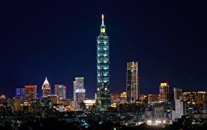 Фото Тайвань Тайбэй Небоскребы Ночные