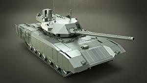 Обои для рабочего стола Танки Сером фоне Русские T-14 Armata Армия 3D_Графика