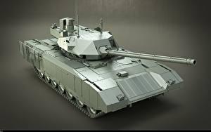 Фотография Танки Сером фоне Русские T-14 Armata Армия 3D_Графика