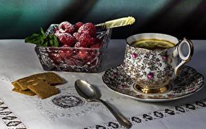 Фото Чай Ягоды Малина Сахарная пудра Чашке Ложка