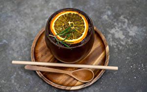 Обои для рабочего стола Чай Лимоны Стакана Ложки Еда