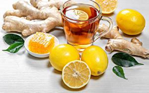 Картинка Чай Лимоны Мед Кружки Кружка Еда