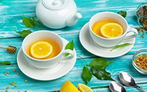 Обои Чай Лимоны Чайник Чашке Ложка Блюдце
