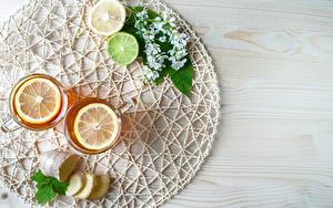 Картинки Чай Лимоны Лайм Доски Стакане Еда