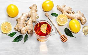 Картинка Чай Лимоны Кружки Листва Пища Еда