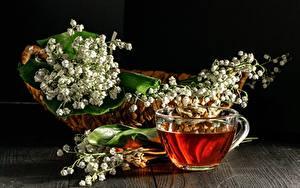 Картинка Чай Ландыши Чашка Корзинка Цветы Еда