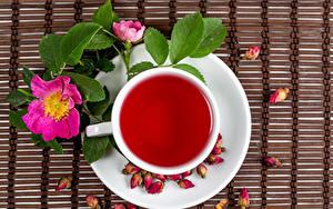 Фотография Чай Розы Чашка Продукты питания