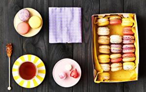 Обои Чай Сладкая еда Доски Тарелка Чашке Макарон