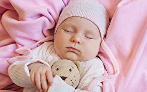 Фотографии Мишки Младенцы В шапке Спят Лицо