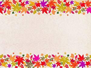 Обои Шаблон поздравительной открытки Лист Клёновый