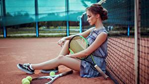 Фото Теннис Сидящие Красивые Ноги Сетка Anna Golub Спорт Девушки