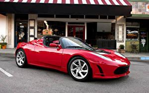 Обои Tesla Motors Красная Металлик Кабриолет Родстер 2010-16 Roadster Sport