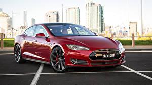 Картинка Tesla Motors Бордовые Металлик 2014-16 Model S P85D Машины