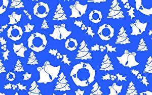 Обои для рабочего стола Текстура Новый год Колокольчики Венком Елка