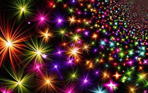 Фотография Текстура Рождество Звездочки Разноцветные Лучи света