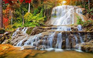 Фотографии Таиланд Парки Водопады Осенние Mae Kae Waterfall Lampang