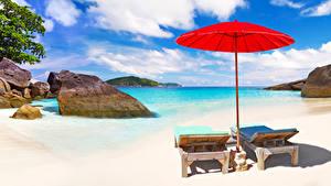 Обои Таиланд Пейзаж Тропики Камень Берег Зонт Шезлонг Пляж Phuket Природа