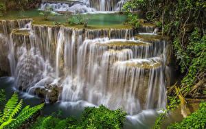Обои Таиланд Тропики Парки Водопады Скале