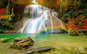 Картинка Таиланд Тропики Водопады Камень Радуга Утес Ngao district Природа