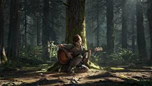Фотография The Last of Us 2 Ствол дерева Гитары Сидящие Ellie компьютерная игра