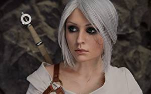 Фотографии Ведьмак 3: Дикая Охота Косплей Блондинка Волосы Смотрит Cirilla Девушки