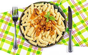 Картинки Вторые блюда Нож Макароны Вилки
