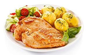 Картинка Вторые блюда Картофель Мясные продукты Овощи Белым фоном Пища