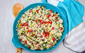 Картинки Вторые блюда Рис Овощи Тарелке Пища