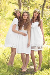 Фотография Втроем Шатенка Платье Улыбка Красивые Девушки
