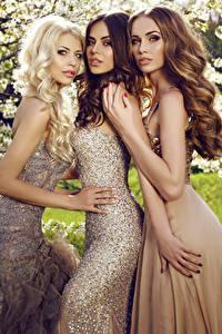 Картинка Трое 3 Смотрят Руки Платья Красивые Девушки