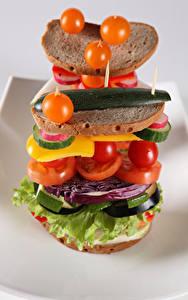 Картинки Помидоры Хлеб Овощи Сэндвич Продукты питания