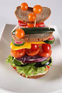 Картинки Помидоры Хлеб Овощи Сэндвич