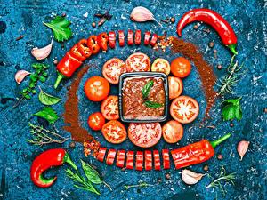Обои Помидоры Чеснок Овощи Острый перец чили Кетчупа Дизайн Еда