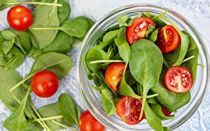 Картинка Томаты Тарелке Миска Spinach Пища