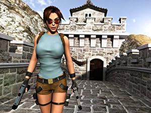 Обои Tomb Raider Пистолеты Лара Крофт Очков Tomb Raider 3: Adventures of Lara Croft компьютерная игра Девушки 3D_Графика