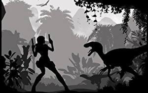 Обои Tomb Raider Underworld Динозавры Лара Крофт Силуэта Игры Девушки