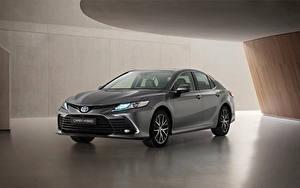 Обои Toyota Серая Металлик Camry Hybrid, EU-spec, 2020 машина
