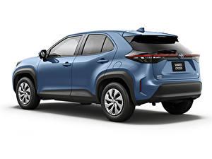 Фотография Toyota CUV Синяя Металлик Белым фоном Yaris Cross Hybrid X, JP-spec, 2020 Автомобили