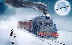 Картинка Поезда Железные дороги Олени Рождество Дым Девочки Луна Санки