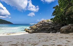 Фото Тропики Камень Песок Пляж Police Beach Seychelles