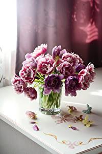 Картинки Тюльпаны Бабочки Стакан Лепестки Цветы