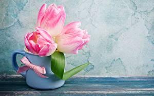 Картинки Тюльпан Розовые Кружка Цветы