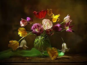 Картинки Тюльпаны Ваза Цветы