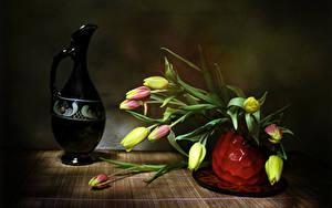 Картинки Тюльпаны Ваза Кувшин цветок