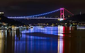 Картинки Турция Стамбул Мосты Ночные Bosphorus город