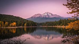 Обои для рабочего стола США Осенние Озеро Горы Лес Калифорнии Lake Siskiyou, Mount Shasta, Cascade Range Природа