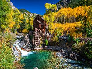 Обои Штаты Осень Горы Дерево Водяная мельница Crystal Mill, Colorado