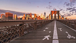 Фото США Мост Здания Нью-Йорк Brooklyn Bridge Города