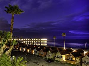 Фото США Берег Здания Небо Калифорнии Ночные Oceanside Города